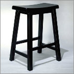Antique Wooden Black Counter Height Stool