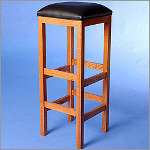 "36"" Oak Square Vinyl Cushion Barstool"